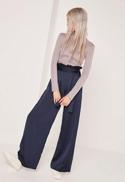 Petite Navy Paper Bag Waist Wide Leg Trousers