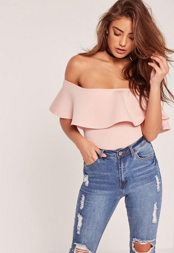 Petite Scuba Bardot Bodysuit Pink