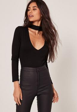 Petite Tab Neck Wrap Bodysuit Black
