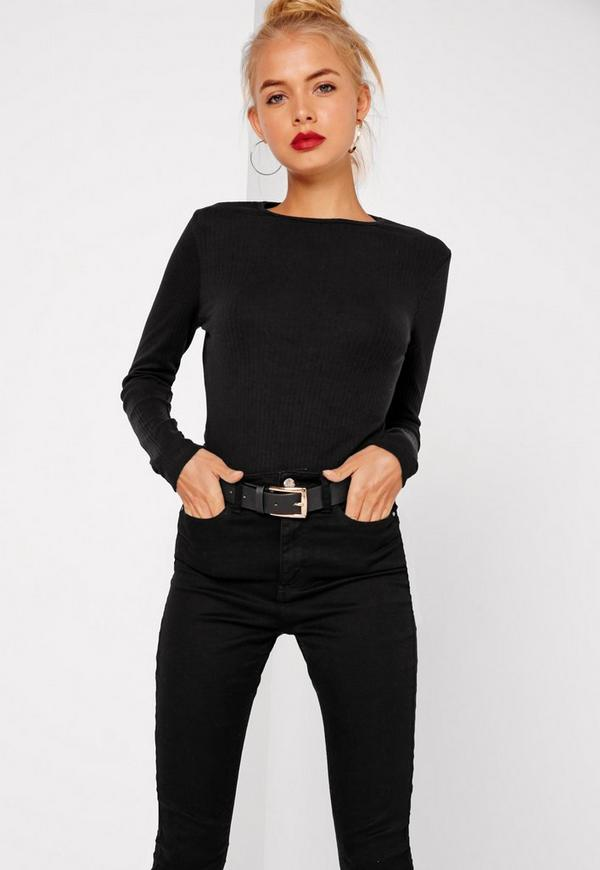Petite Crew Neck Ribbed Long Sleeved Top Black