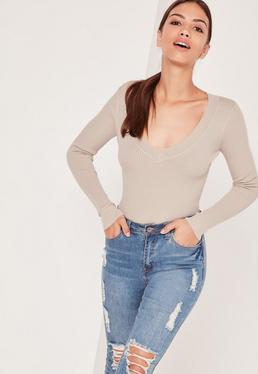 Petite Beige Deep Plunge Knitted Bodysuit