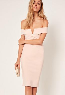 Petite Exclusive V Front Bardot Mini Dress Cream