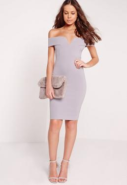 Petite V Front Bardot Mini Dress Grey