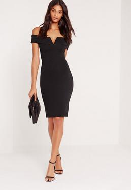 Petite V Front Bardot Midi Dress Black