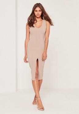 Petite Exclusive Plunge Front Midi Dress Nude