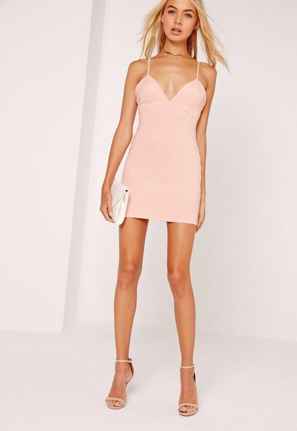 Petite Strappy Plunge Bodycon Dress Nude