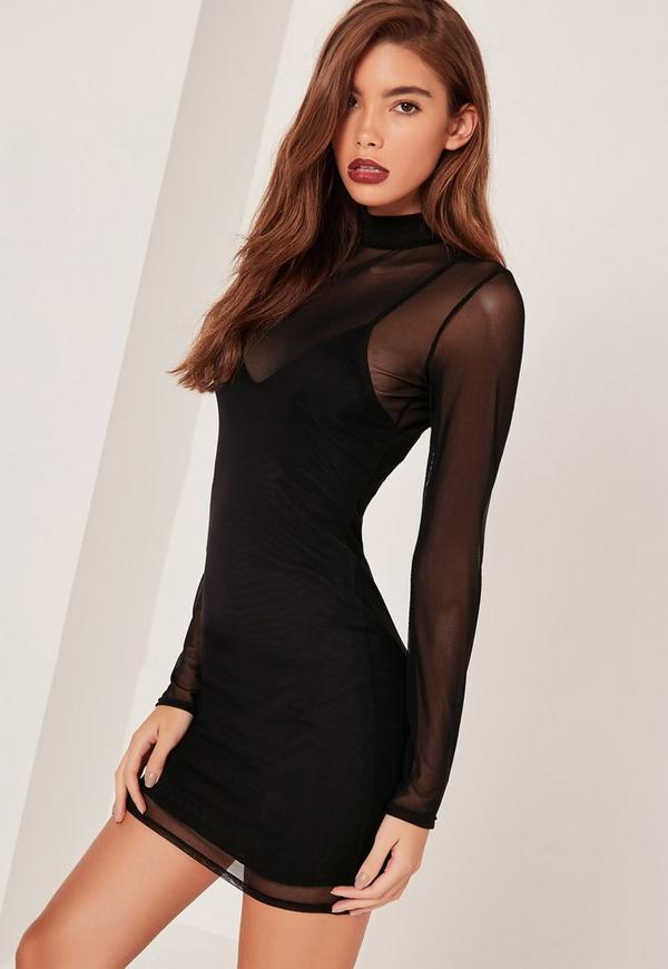 Petite High Neck Mesh Overlay Mini Dress Black
