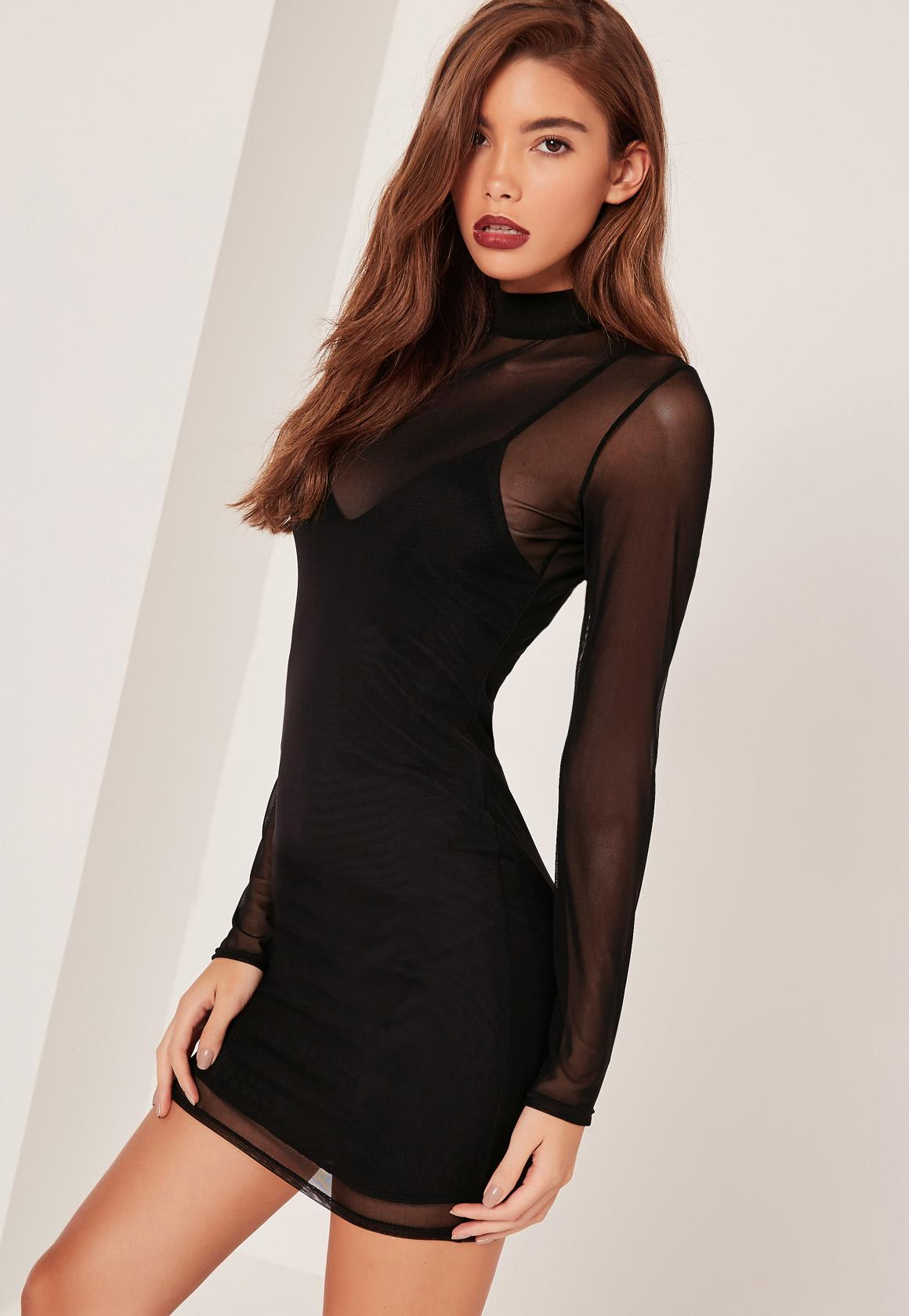 Petite High Neck Mesh Overlay Mini Dress Black - Missguided