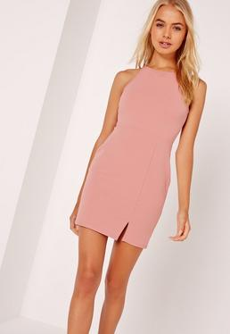 Petite Square Neck Side Split Mini Dress Pink