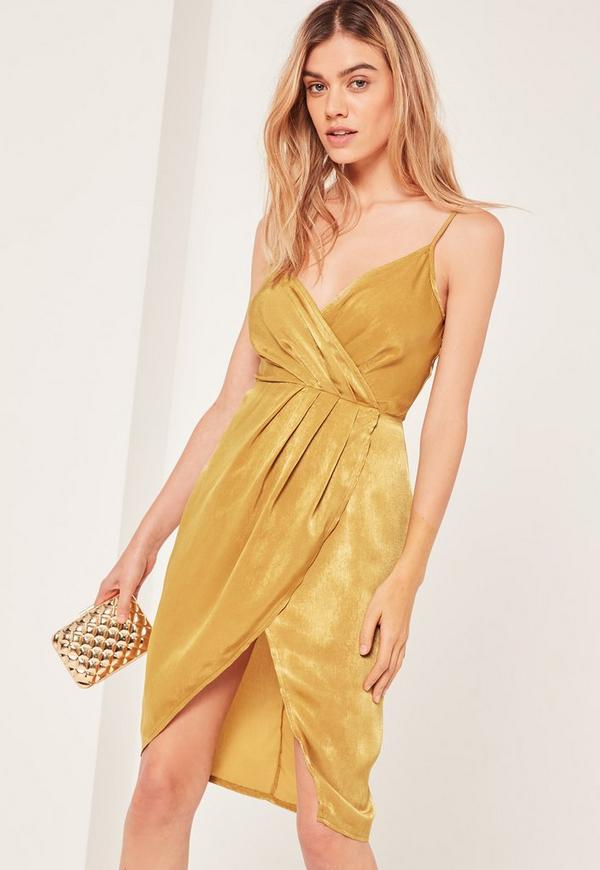 Petite Yellow Silky Strappy Wrap Over Midi Dress