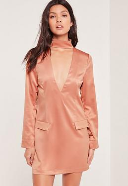 Petite Choker Neck Shift Dress Pink