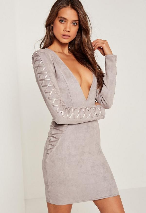 Petite Faux Suede Long Sleeve Bodycon Dress Grey