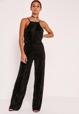 Petite Exclusive Square Neck Pleated Jumpsuit Black