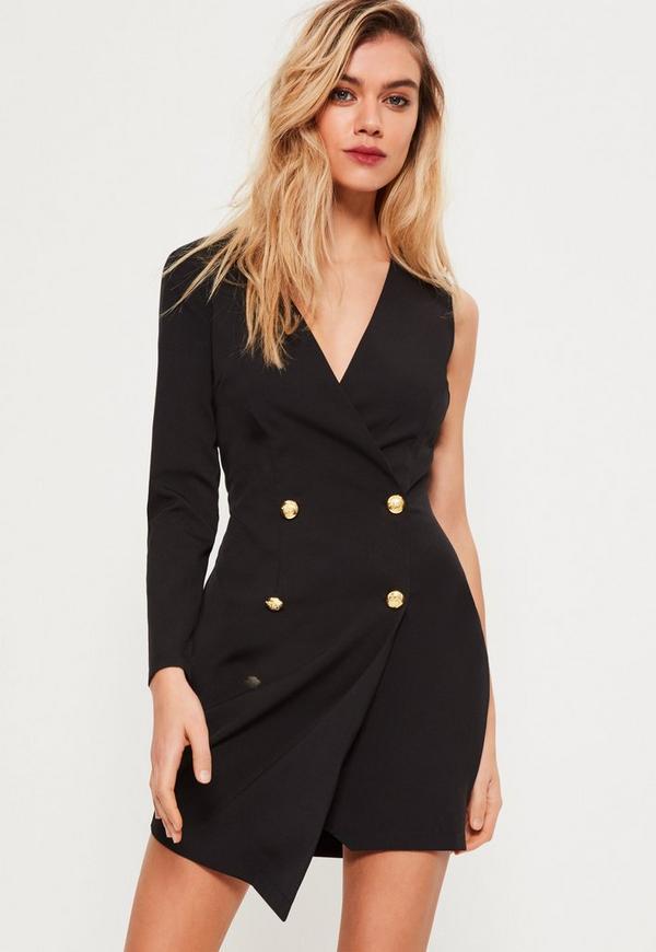 Petite Black One Sleeve Tuxedo Dress