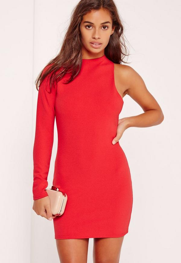 Petite Exclusive One Sleeve Mini Dress Red