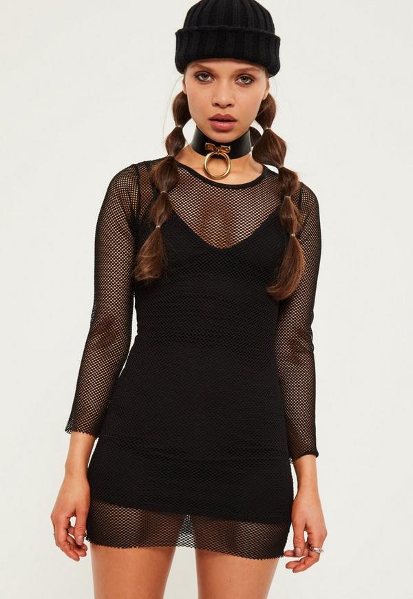 Petite Black Fishnet Long Sleeve Mini Dress