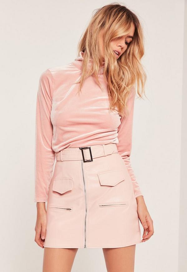 Petite Exclusive High Neck Velvet Top Pink