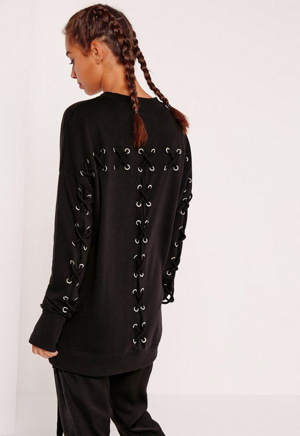 Petite Exclusice Black Lace Up Eyelet Sweatshirt