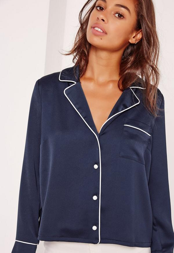 Womens Navy Blue Blouse