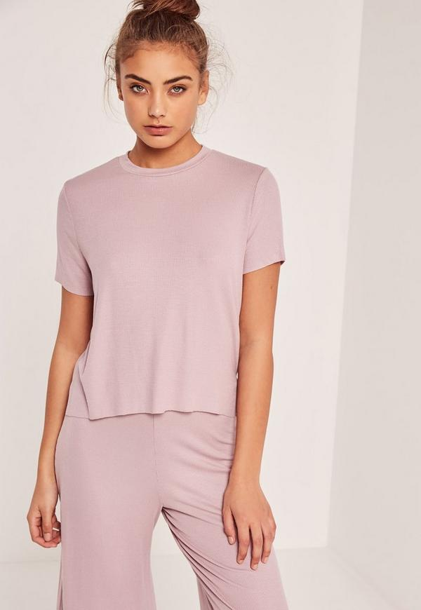 Petite Ribbed T Shirt Pink Missguided