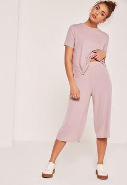 Pink Petite Ribbed Culottes