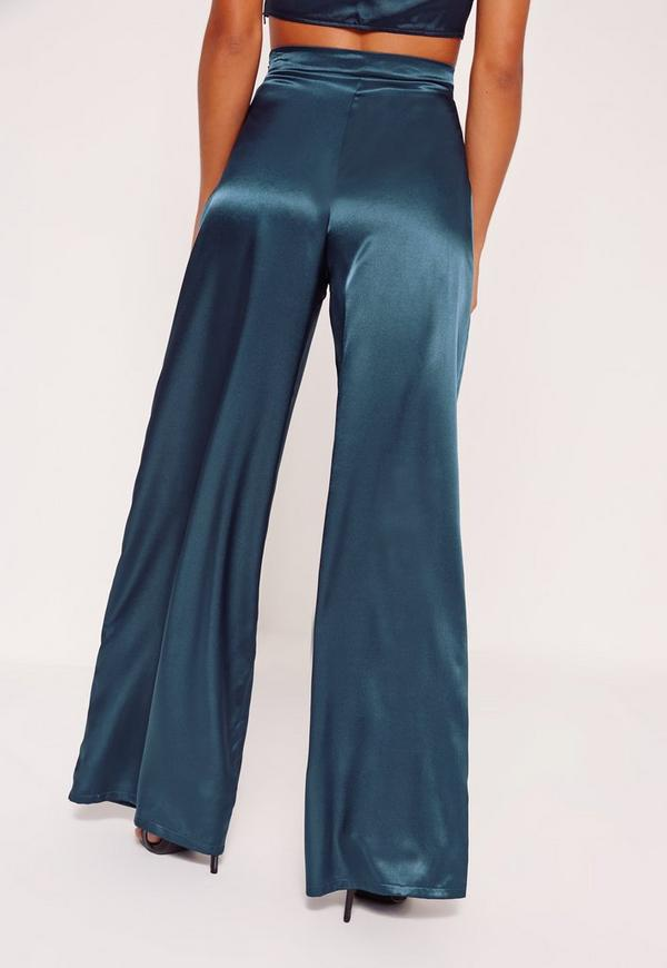 Petite Exclusive Blue Wide Leg Satin Pants Missguided