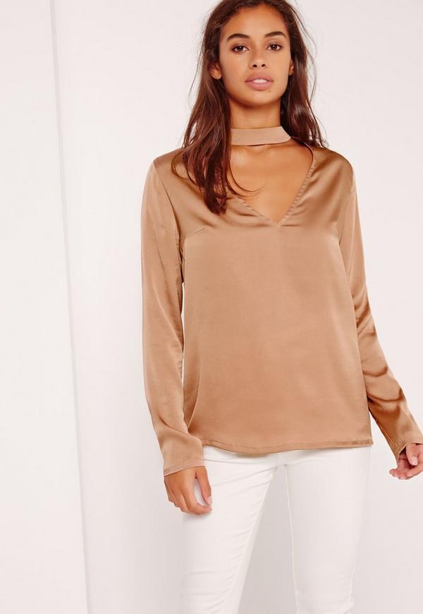 Petite Exclusive Satin Choker Neck Blouse Gold