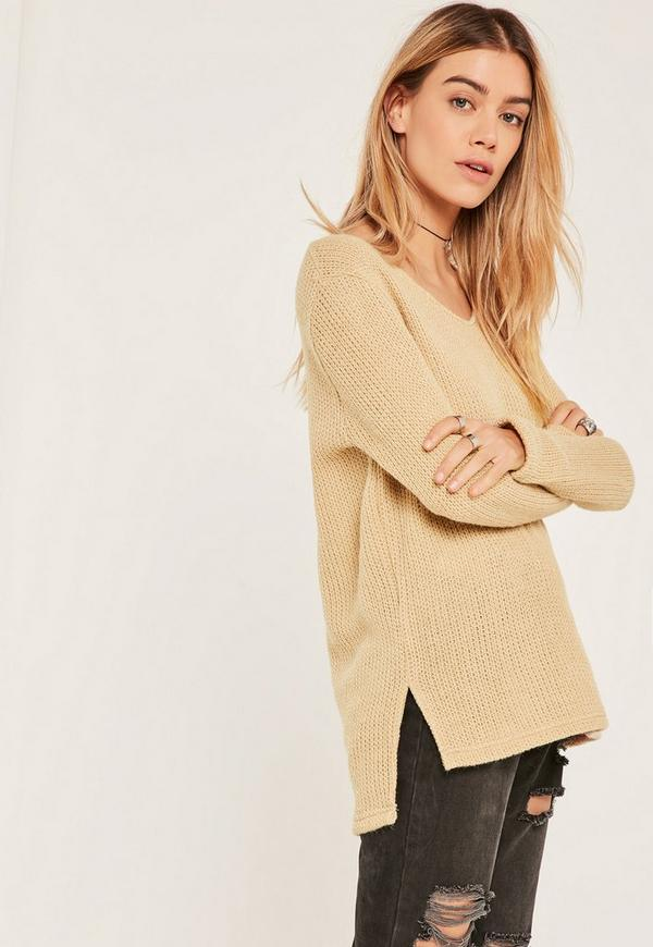 Petite Nude Knitted Long Sleeve Jumper