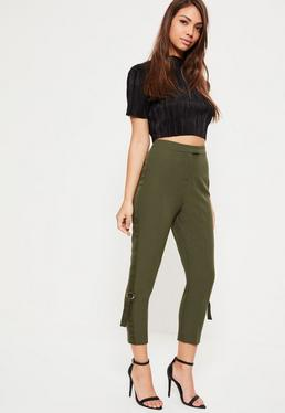 Petite Khaki D-Ring Panel Cigarette Trousers