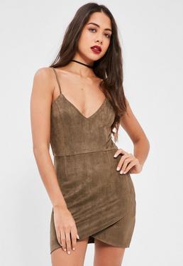 Petite Khaki Faux Suede Mini Dress