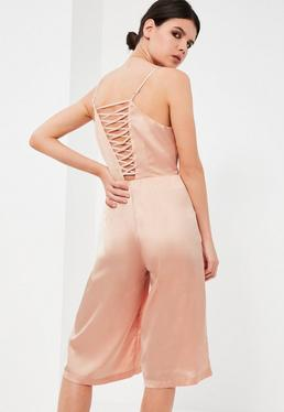Petite Nude Satin Lace Up Culotte Jumpsuit