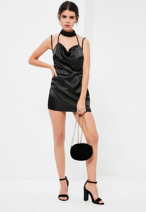 Petite Black Satin Choker Cowl Neck Mini Dress   Missguided