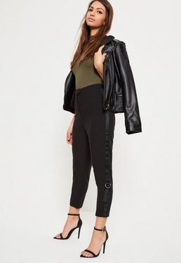 Petite Black D-Ring Panel Cigarette Trousers