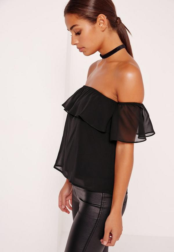 8fc9b41da9c6b Petite Exclusive Frill Bardot Top Black