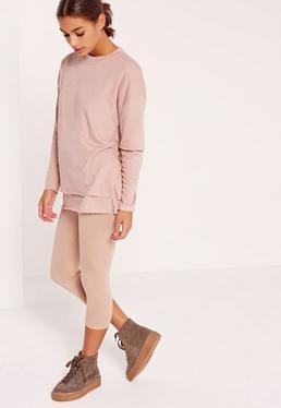 Petite Pink Double Layer Raw Edge Sweater
