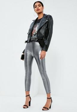Petite Exclusive Silver Faux Leather High Waisted Leggings