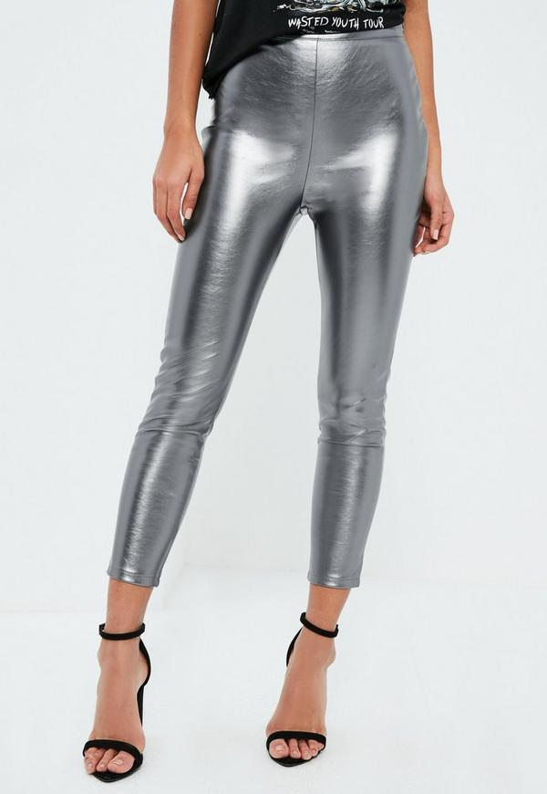 ASOS DESIGN Petite leather look leggings with elastic slim waist. £ Vero Moda leather look stretch trousers. £ ASOS DESIGN spray leather look trouser. £ Noisy May Tall leather look legging. £ Noisy May Petite leather look legging. £ Mamalicious wet look leggings.