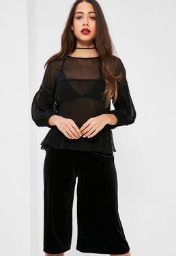 Czarna ekskluzywna plisowana bluzka petite