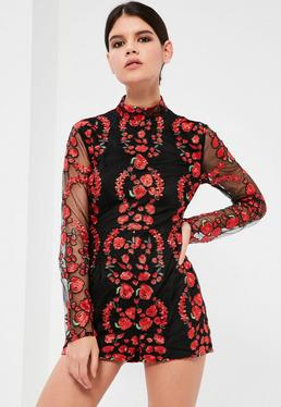 Petite Exclusive Black Embroided High Neck Playsuit
