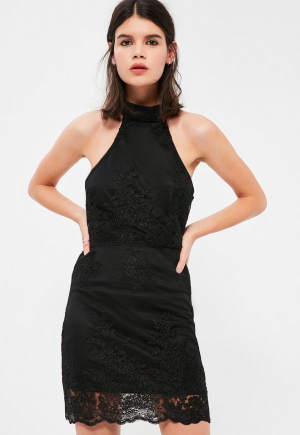 Petite Black High Neck Lace Dress