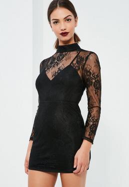 Czarna sukienka mini z dodatkiem koronki Petite