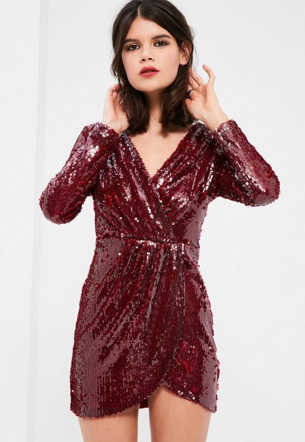 Petite Burgundy Sequin Plunge Wrap Dress