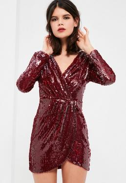 Petite Exclusive Burgundy Sequin Plunge Wrap Dress