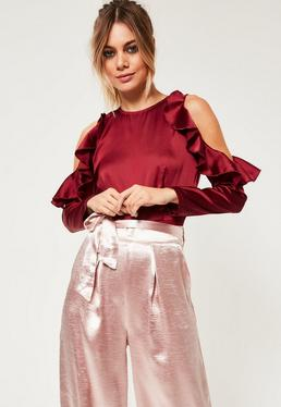 Petite Exclusive Burgundy Satin Cold Shoulder Bodysuit
