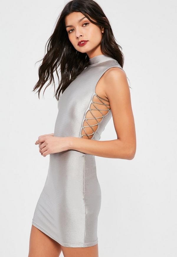Petite Silver High Neck Dress