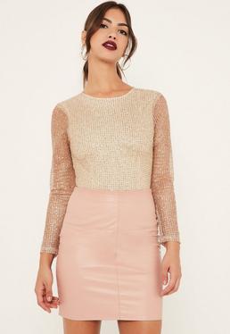 Petite Exclusive Gold Glitter Bodysuit