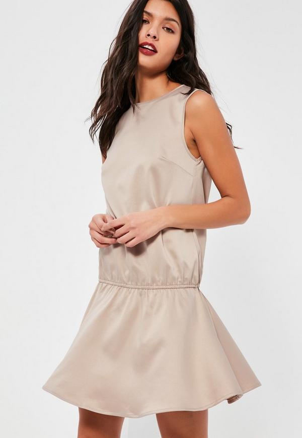 Petite Nude Peplum Dress