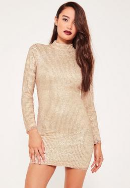 Petite Exclusive Gold High Neck Glitter Mini Dress