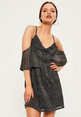 Petite Exclusive Silver Cold Shoulder Dress