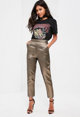 Petite Exclusive Gold Textured Trousers